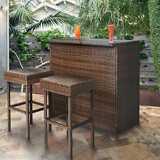 3 Pc Bar Table 2 Stools Set Outdoor Indoor Patio Garden Wicker Rattan Furniture