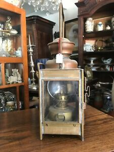 Ancienne lampe lanterne Cuivre Cheminot train n°2