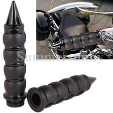 "ONE PAIR 1"" MOTORCYCLE HANDLE BAR END HAND GRIPS FOR HARLEY HONDA BLACK RUBBER"
