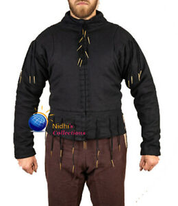 Medieval Gambeson Aketon Jacket Thick Padded Full Sleeves Costume Coat SCA LARP