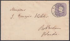 1890 Chile 5c violet Stationery Envelope, Santiago to Rotterdam (B/S), Holland