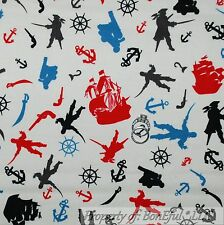 BonEful Fabric Cotton Quilt White Red Blue PIRATE Boy Ship Boat Skull B&W SCRAP