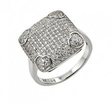 925 STERLING SILVER RING HEART SQUARE FACE W/MICRO PAVE SETTING/ SZ 5 TO 9