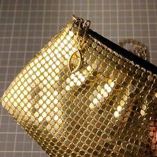 Vintage Metal Mesh Gold Tone Evening Bag Clutch or Shoulder Purse Prom Wedding