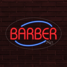 Brand New Barber Oval Withborder 30x17x1 Inch Led Flex Indoor Sign 34025