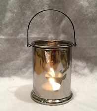 Glass Stag Head Silhouette Christmas Candle Holder Lantern Silver Retro T Light