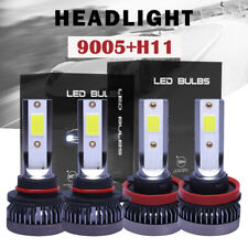 4x 9005+H11 Mini LED Headlight Bulbs Conversion Kit Combo High Low Beam 6000K BE