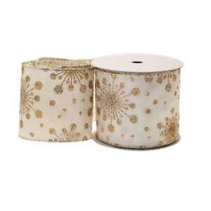 Luxury Cream & Gold Snowflakes Christmas Ribbon - 1m length