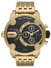 2018 NEW Diesel Men's Little Daddy Black Face Chronograph Gold Band Watch DZ7412