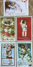 5 - 1910 Beautiful Unposted Post Cards for Valentine's Day, Love Romance Cupid
