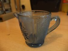OLD VINTAGE BLUE COBALT PRESSED GLASS SMALL MILK CREAM JUG
