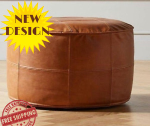 Moroccan 100% Leather Pouf Handmade Ottoman Footstool 18x18x18in
