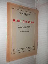 ELEMENTI DI PSICOLOGIA Luigi Stefanini SEI 1954 libro psicologia saggistica di
