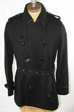 AUTH $1295 Burberry Brit Men Black Trench Wool Coat XL