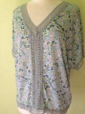 Per Una Mint Green Floral Fine Jersey Boxy Wide Crochet Trim Top M