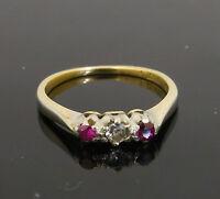 Antique 18ct Yellow Gold & Platinum Ruby & Diamond Three-Stone Ring (Size N)