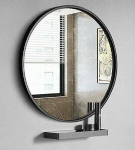 "TinyTimes 19.69"" Clean Round Wall Mirror, Circle Wood Mirror, Matte Black Frame"