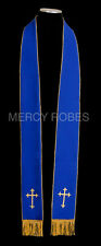 Brand New Reversible Stole Vestment RVS003 (Royal Blue/Gold and White/Gold)