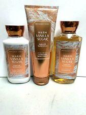 Bath & Body Works Warm Vanilla Sugar Lotion 8Oz, Shower Gel 10oz Body Cream 8oz
