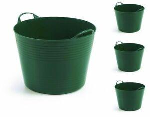 4 x Gartenkorb Korb Haushaltskorb Einkaufskorb Wäschekorb Flexibel 40 Liter Grün