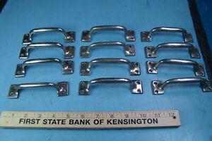 Dozen Antique Brass Drawer Pulls Handles, Nickel Plated Heavy Duty, Marine Use?