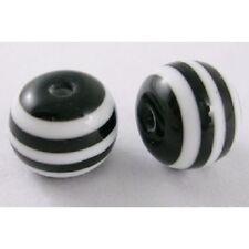 LOT de 50 PERLES acryliques rayées NOIR et BLANC 10mm bijoux bracelet shamballa