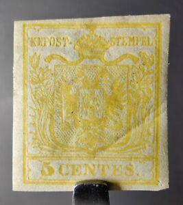 AUSTRIA LOMBARDY & VENETIA STAMP 1850 #1 5c YELLOW MINT OG, Sc #1b, RARE, CREASE