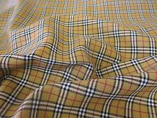 Tan Tartan, Plaid, Checked Polyviscose Dress Fabric.