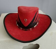 HEAD 'N HOME RED SUEDE AND SNAKE SKIN LEATHER COWBOY HAT SIZE M/L MADE IN USA