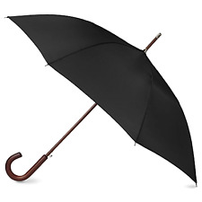 Classic Umbrella Automatic Open Wooden Stick Windproof Folding Rain Black STRONG