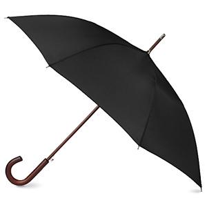 Classic Umbrella Automatic Open Wooden Stick Windproof Folding Rain Black STRONG