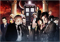 Dr Who Tardis Characters Giant Poster Art Print - A0 A1 A2 A3 A4 Sizes