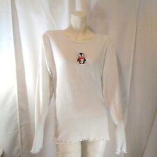 Simple Pleasures Womens White Penguin Shirt Extra Large