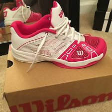 Wilson youth 5.5 = W 7 pink white girls womans tennis shoes