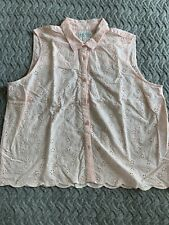 Jack Wills Pink Broderie Anglais Shirt Blouse Size 16