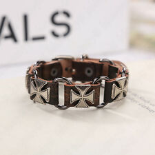Fashion Charm Brown Leather Bracelet For Unisex's Men Punk Surfer Bangle Jewelry