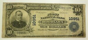1902 $10 National Currency FIRST NATIONAL BANK WOODLAWN Large Note Charter 10951