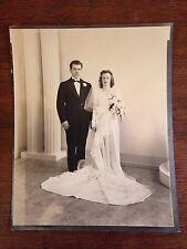 "Vintage 1940's  Era  Bride & Groom Wedding Photograph  8"" x 10"""