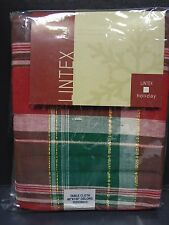 "Lintex Oblong 60"" x 120"" Tablecloth in Christmas Plaid"