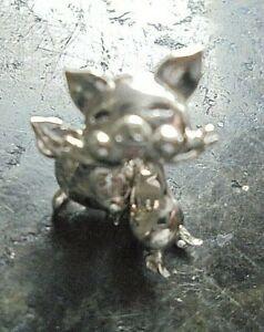 925 Sterling Silver Articulated Pig Earrings Drop
