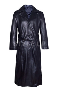 Wesley Snipes Blade Trinity Black Casual Military Style Leather Long Trench Coat