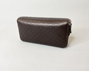 Gucci Travel Wallet Double Round Zip Micro GG Monogram Brown Leather