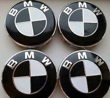 4x Black White Colour Fits BMW MOST SERIES 68mm ALLOY WHEEL CENTRE CAPS 10 Pin