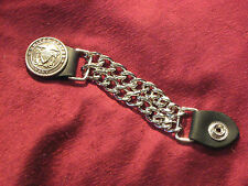 Handcrafted Leather/Dbl. Curb Chain Vest Extender Navy Silver