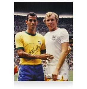 Carlos Alberto Signed Brazil Photo: Meeting With Bobby Moore Autograph