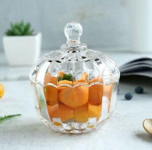 Glass Sweet Sugar Bowl Crystal Effect Cut Candy Chocolate Bonbon Jar With Lid