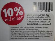 6 Stück 10 % Rossmann Coupons Gutscheine ggf. für DM, Müller 31.08.19 August