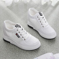 Casual Women's Mesh Hidden Wedge Heel Lace Up Sneakers Athletic Shoes Breathable