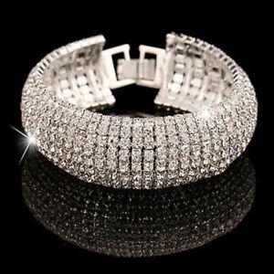 Womens Jewelry 8-Row Wedding Tennis Bracelet Bangle Crystal Rhinestone Silver