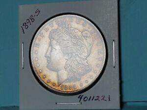 1898-S MORGAN SILVER DOLLAR RARE KEY DATE GOLD TONING!! #4011221-66V